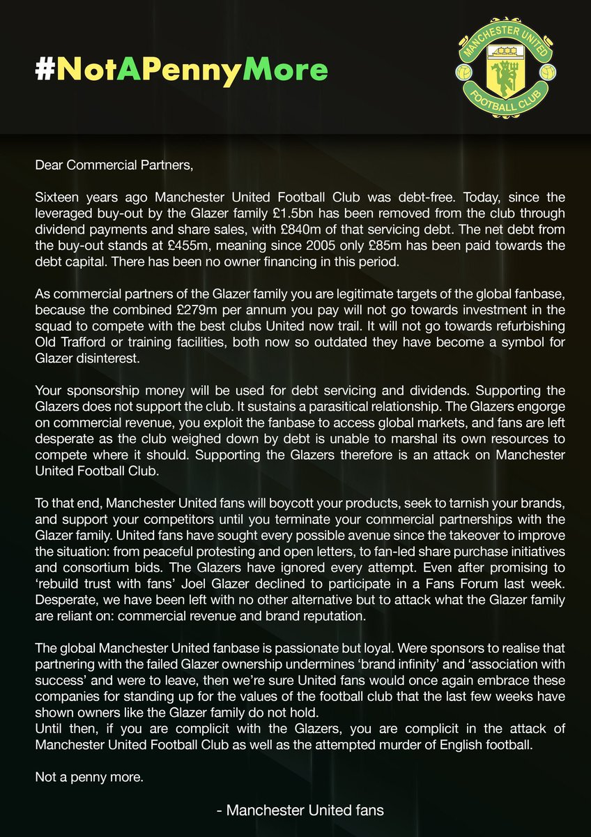 Please RT this open letter in full which an unnamed Manchester United fans' group have written to United's commercial partners https://t.co/vZOMNNsI9g