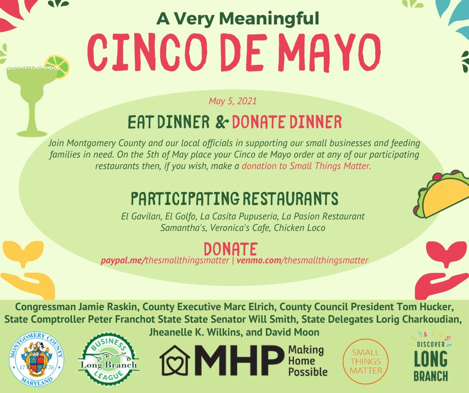 Don't forget tonight's Cinco De Mayo dinner plans! Support a Long Branch small business and donate to @STMdotorg tonight.