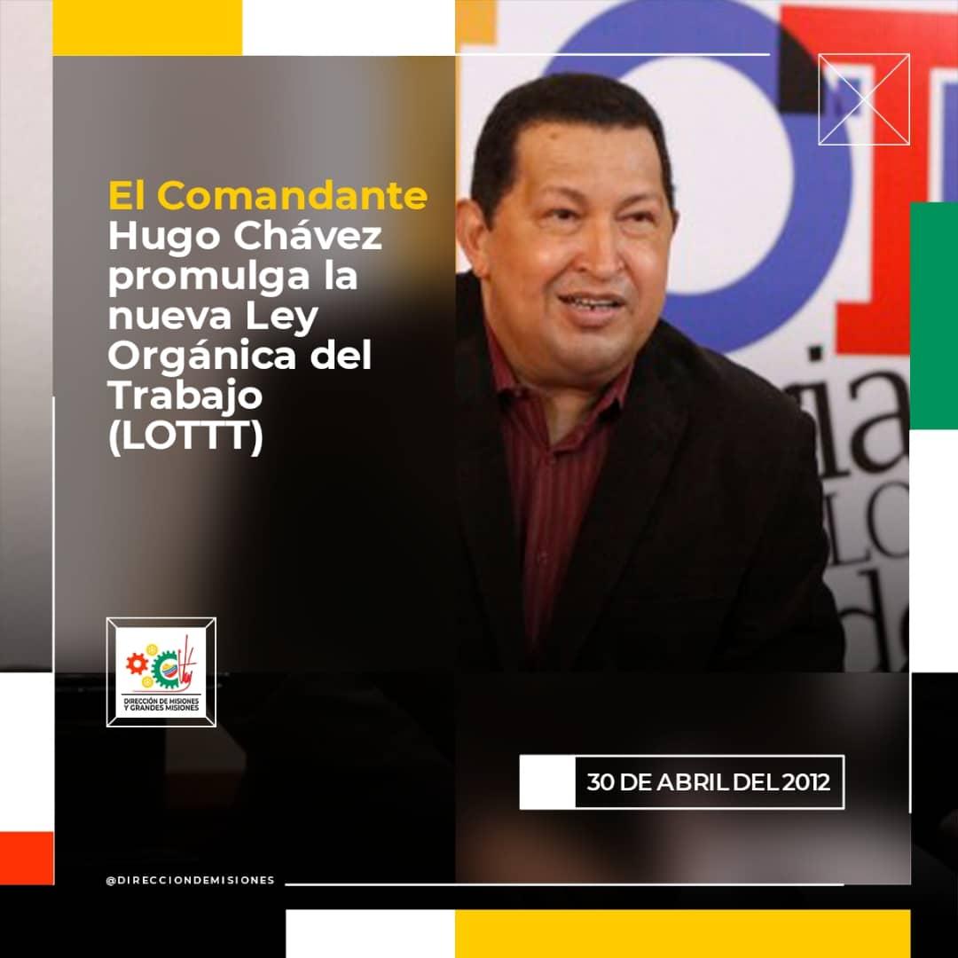 #04deMarzo // El #30deAbril 2012 El comandante Hugo Chávez, promulga la nueva Ley Orgánica del Trabajo (LOTTT) @NicolasMaduro @MervinMaldonad0 @YhoannaLinarez @Mippcivzla @luchaalmada @jaarreaza @jorgerpsuv @AdolfoP_Oficial @drodriven2 @gestionperfecta @TarekWiliamSaab @RT_com