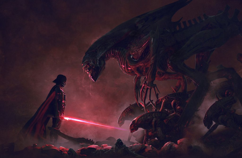RT @GhouliaChilds: ALIENs vs STAR WARS Artwork by Guillem H. Pongiluppi @guillemhp  #StarWarsDay https://t.co/qKCwjwfv3o