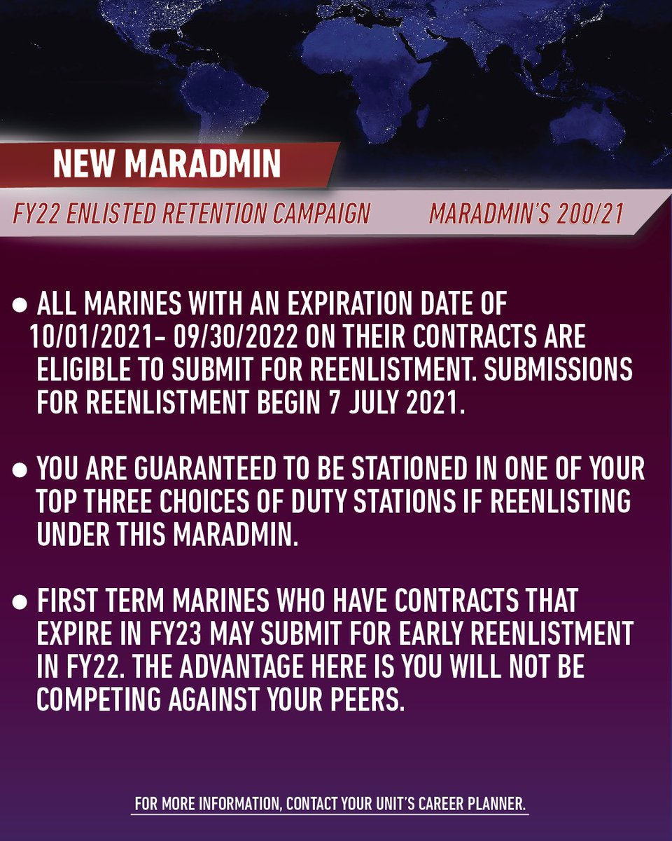 Oorah Marines ! Check out these new MARADMINS for information about reenlistment and upcoming roadshows ! For more information contact your unit's Career Planner #motivate #getsome #marines https://t.co/KVjMxx0IhV