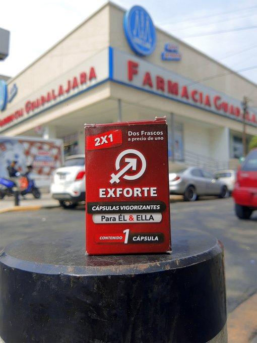 2 pic. En estas farmacias GDL.😉 Encontraran #Exforte las capsulas que te pondrán🍆 duro💢 y por más tiempo