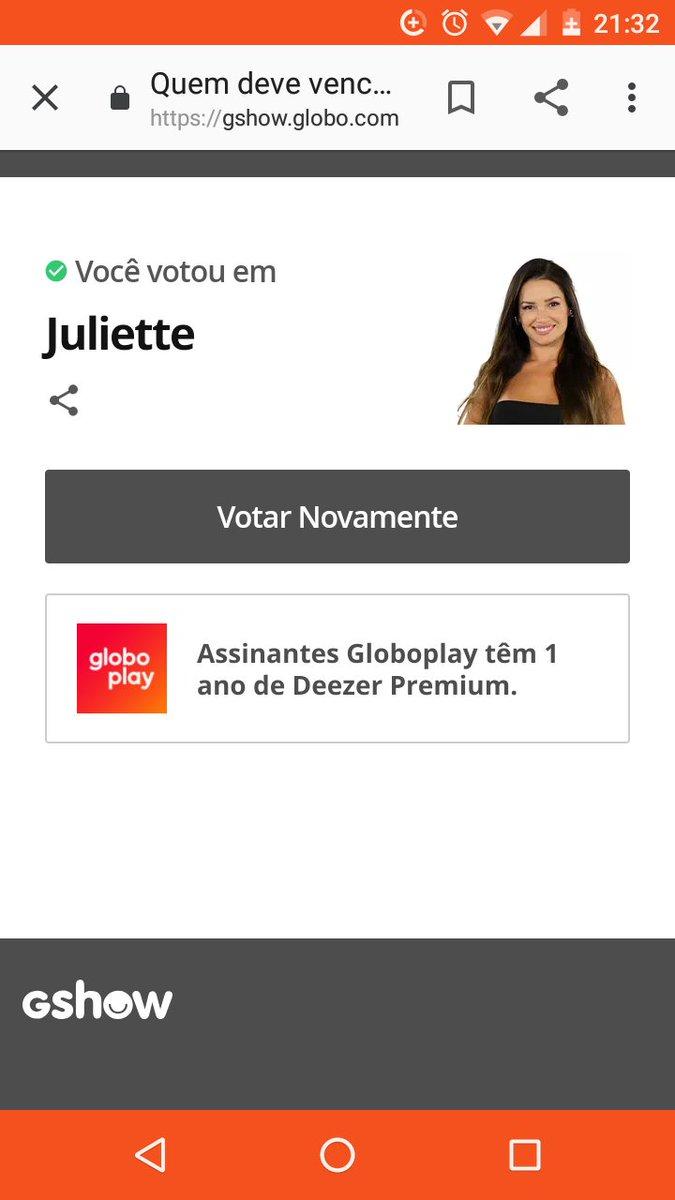 Vote consciente! Kkkkkkkkkkkk Juliette campeã ! https://t.co/BiRutP9cnQ