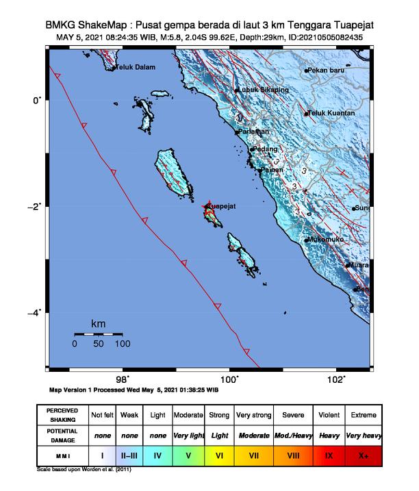 Pusat Gempa Mag 5.8 di Tuapejat Mentawai