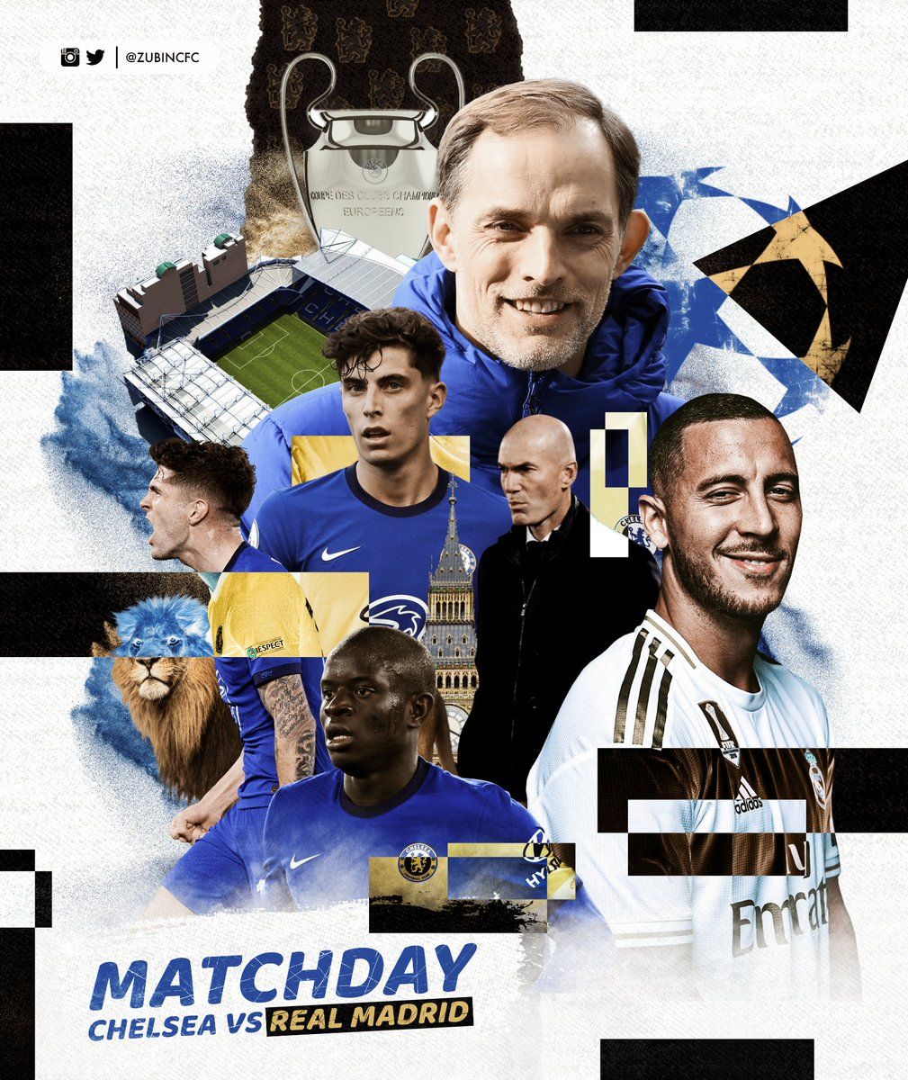 Chelsea vs Real Madrid Matchday Poster 💙🔥  #ChelseaFC #CHERMA #UCL https://t.co/9e9x1yUTlg