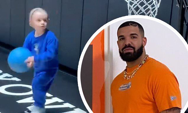 Drake shares video of his three-year-old son Adonis playing basketball Photo