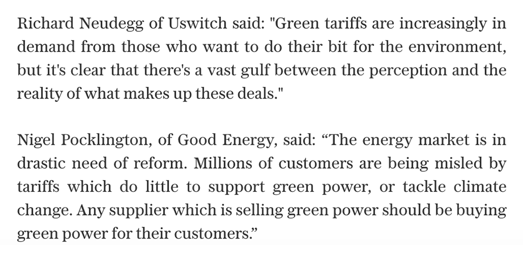 """""""Green"""" energy suppliers have been accused of burning fossil fuels, with nearly nine in 10 using a loophole to claim they're renewable, according to @UswitchUK.  """"The market is in drastic need of reform,"""" said @GoodEnergy 👇  Get the full story here: https://t.co/34JhzKgKis https://t.co/KpLM4ENRty"""