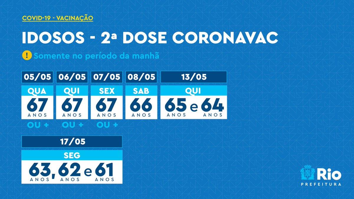 👉🏽 2ª dose da CoronaVac 👈🏽   Até sexta-feira, os idosos com 67 anos ou mais podem tomar o imunizante durante o período da manhã. https://t.co/v3bYePkZrb