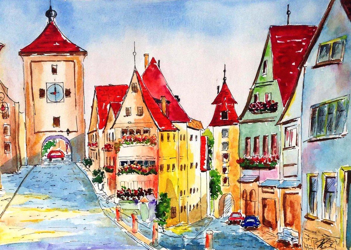 ACEO watercolor original watercolor urban landscape cityscape original painting ACEO by Larisa Bokareva
