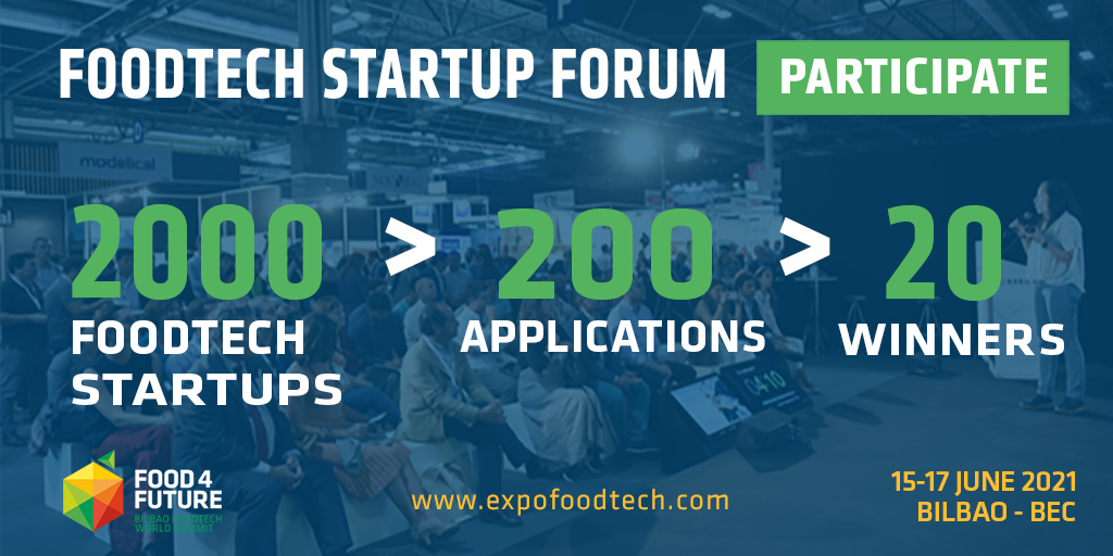 We are excited to contribute to showcase latest #innovation in the #food industry!  #Startups, join the Food 4 Future expo in 15-17 June in Bilbao (Spain) to learn more about the FoodTech state or the art 📝Register now: https://t.co/82L3mMgndy #F4F2021