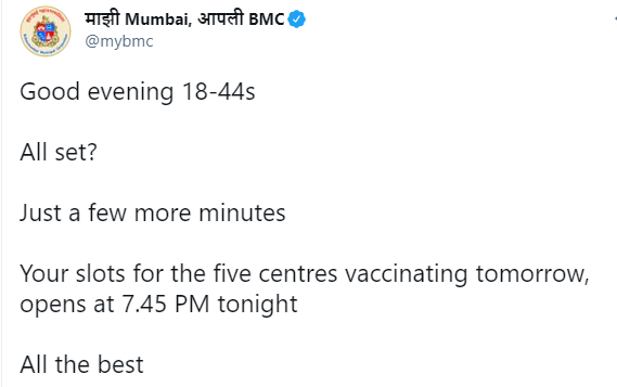 "Authorities in Mumbai have faced criticism for issuing a notice on Twitter telling people to get ready as limited slots were opening in minutes, wishing the hopeful ""all the best"". ""Playing a stressful lottery every day is in extremely bad taste"". READ: https://t.co/fATMQLBrRd https://t.co/Ph6ZwvqBgH"