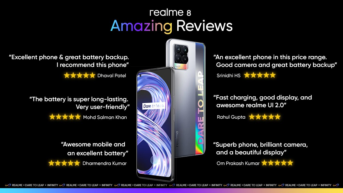 RT @MadhavSheth1: Delighted to bring products that receive such a positive response from the users.    #realme8 https://t.co/ky4VUNHKhm