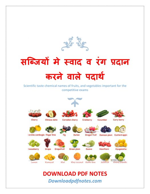[PDF*] Fruits and vegetables taste chemical name pdf download competitive exams
