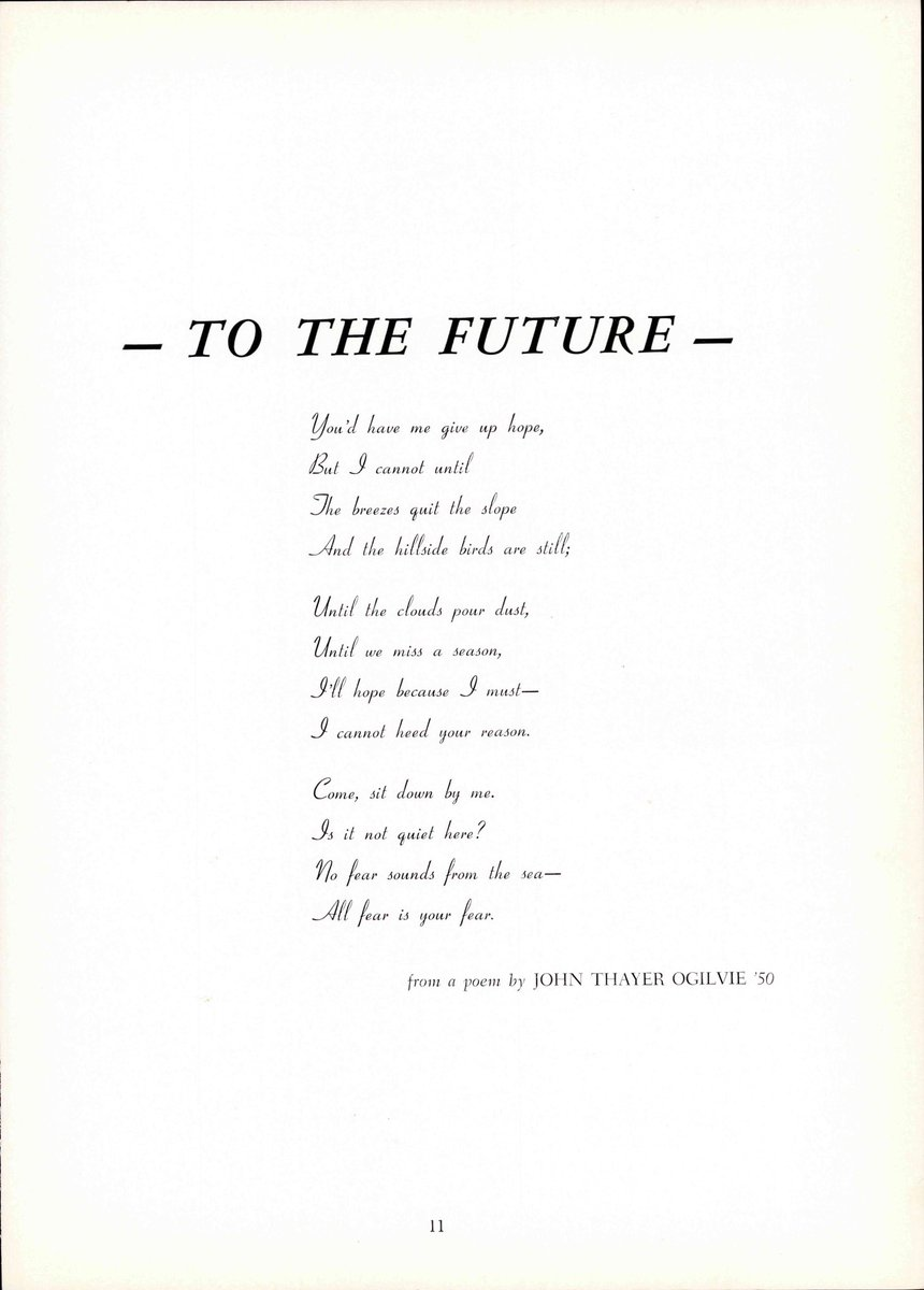 test Twitter Media - A poem for the future by John Thayer Ogilive '50 for the class of 1951, 70 years ago. Looking back, you see the teams,  activities, and events that occurred at Wesleyan 7 decades ago. A lot has changed (for the better) but a lot has stayed the same. #WesArchives #OllaPodridas https://t.co/Xg86dDY9f1