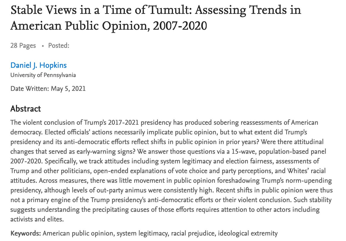 Here's a new #polisciresearch working paper & a 🧵.  We all know about 1/6 and the threat to American democracy that crystalized that day.   Were there *changes* in American public opinion in the years before that foreshadowed the threat?   Not really.   https://t.co/YWID4MK9Y2 https://t.co/GBfYRT0yU2