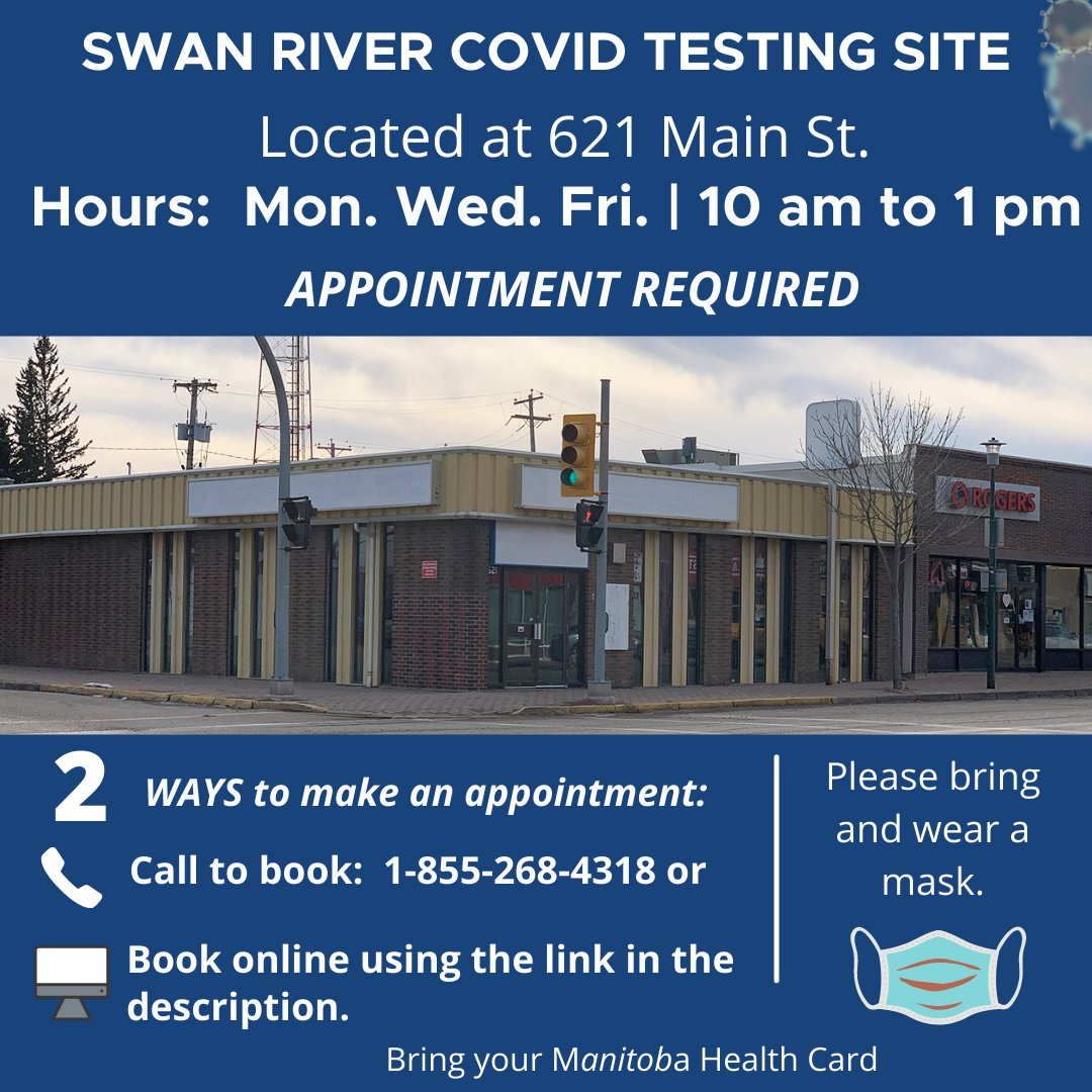 #SwanRiver COVID testing site requires an appointment.  Call: 1-855-268-4318 to book or online at: https://t.co/mOyDO9ctn3    More testing site info:  https://t.co/QjMPFzDIiD @TownofSwanRiver Town of Swan River https://t.co/S2LJ3CB9GM