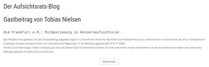 Der Aufsichtsrats-BlogGastbeitrag von Tobias NielsenOLG Frankfurt a.M.: Mitbestimmung im Konzern....
