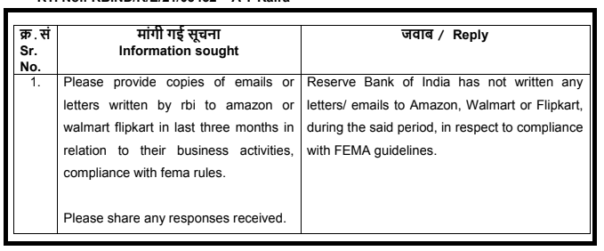 I asked India's central bank if it had written any letters to Amazon/others about foreign investment law issues. The answer is no. A @Reuters investigation in February found Amazon has for years favoured some sellers & used them to bypass Indian law: https://t.co/235ParSfm9 https://t.co/awEpQ9FX3L