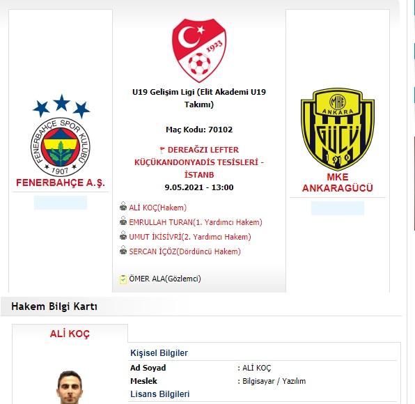 """FutbolArena on Twitter: """"🗞 U19 Gelişim Ligi'nde Fenerbahçe ile Ankaragücü arasında oynanacak maça Ali Koç isimli hakemin atanmasının ardından, İstanbul İl Hakem Kurulu Başkanı Emre Kosif, yönetimi ile birlikte görevden alındı. (Türkiye"""