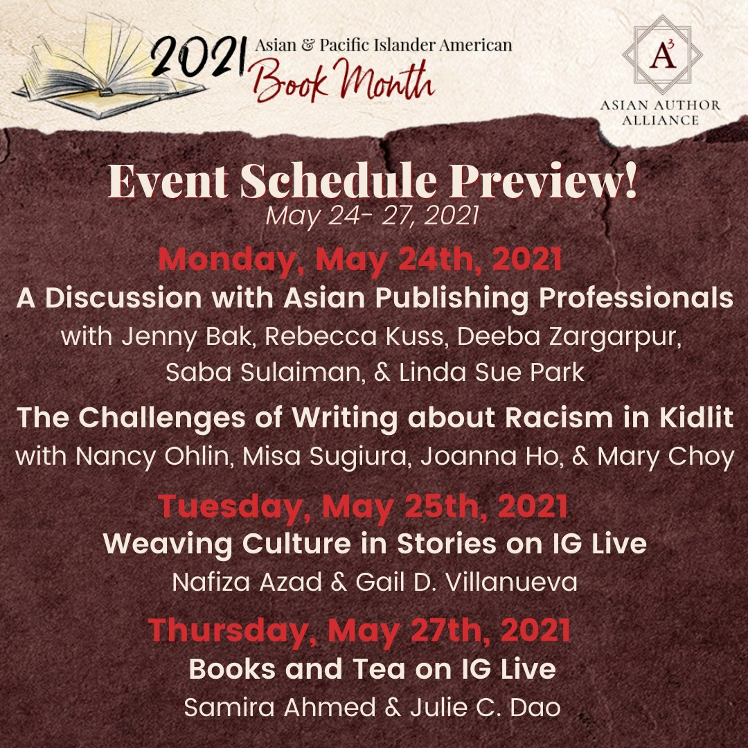 ✨AAPI Book Month Week Four (pt 1) Preview✨ Here's a sneak peek at the panels and events in store during week one of AAPI Book Month! (May 23-27) Go to asianauthoralliance.com/asian-pacific-… for more info! #AAPIBookMonth #AAPIHM