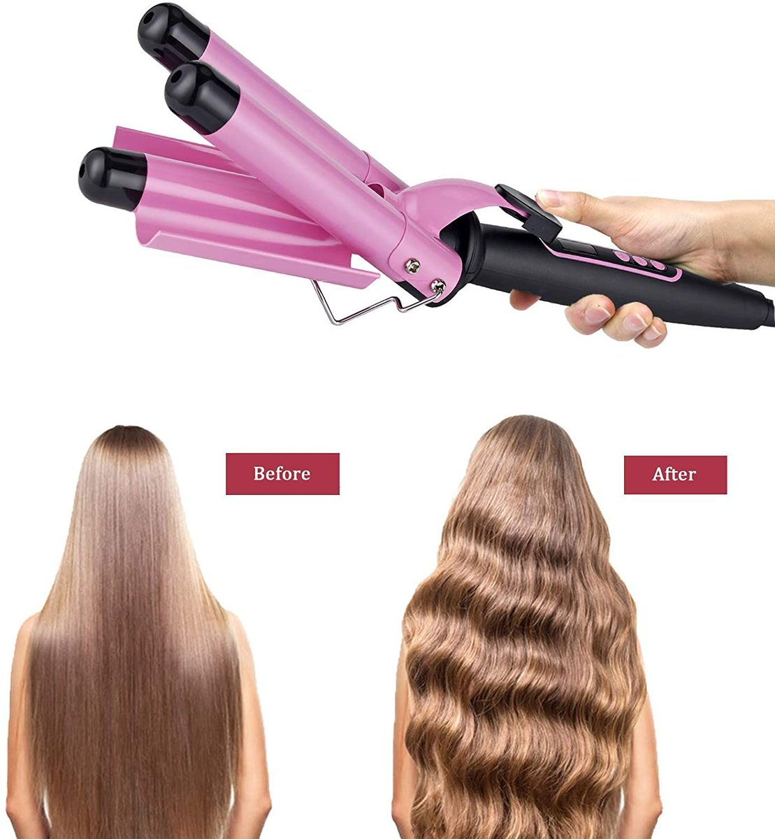 ad: $13.99 (60% off)  3-Barrel Hair Curling Iron   Link0 Link0