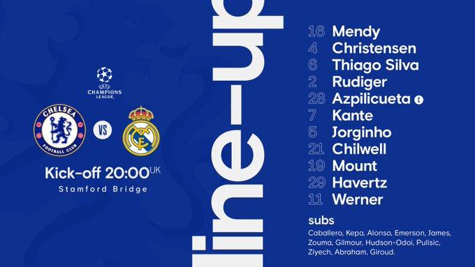 Shaxda rasmiga ah kulanka adag Kooxaha Chelsea iyo Real Madrid ee Champions League oo la shaaciyey