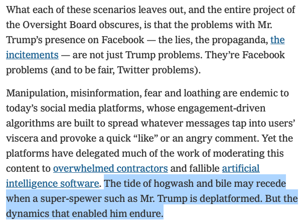 The thing is, Facebook's Trump problem isn't just a Trump problem. It's also a Facebook problem. And that's the part that the Facebook-chartered Oversight Board couldn't, or wouldn't, address. https://t.co/iVaIyEv6xl https://t.co/Fuv5tqLD5g