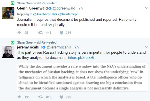 Folks, this is what's called 'having absolutely no shame.'   A reminder that the 2 obscenely overpaid Intercept fuckos literally tried to discredit their own outlets story when it ran because the documents Winner leaked busted their 'Russia Hoax' narratives. https://t.co/MH9jkiomaQ https://t.co/6dv813EeeV