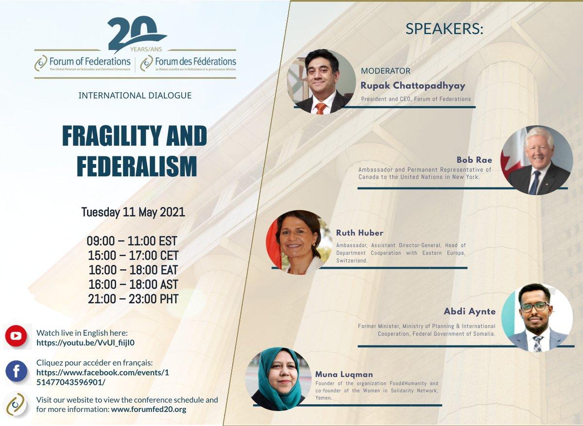 The 2nd International Dialogue in @ForumFed's 20th Anniversary Event!      𝐅𝐫𝐚𝐠𝐢𝐥𝐢𝐭𝐲 𝐚𝐧𝐝 𝐅𝐞𝐝𝐞𝐫𝐚𝐥𝐢𝐬𝐦  May 11th at 9:00am EST.  English 📺➡️https://t.co/7crlVs6vTI  Français 📺➡️https://t.co/6xibcDlFFj  @BobRae48 @RupakChatto @munaluqman @Aynte https://t.co/yHf5mL4rPX