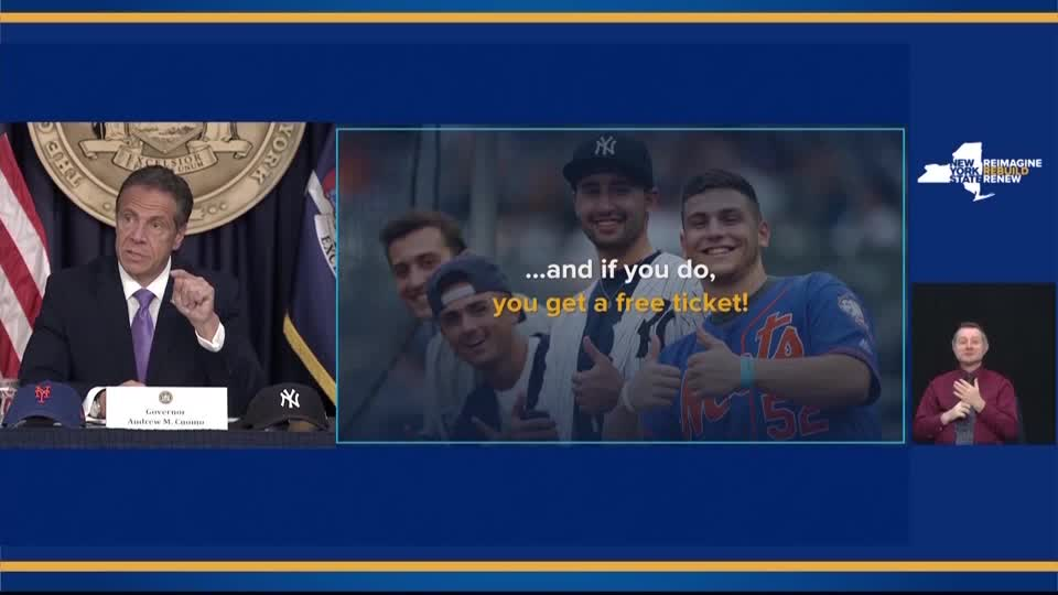 WATCH: New York Governor Andrew Cuomo said baseball fans can not only get vaccinated at a Yankees or Mets game, they can even get a free ticket courtesy of the teams. 'If you get a vaccination, they will give you a free ticket to the game,' Cuomo said https://t.co/qZZjq1UVZI https://t.co/EDeLROaA8z