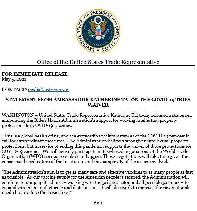 These extraordinary times and circumstances of call for extraordinary measures.   The US supports the waiver of IP protections on COVID-19 vaccines to help end the pandemic and we'll actively participate in @WTO negotiations to make that happen. https://t.co/96ERlboZS8