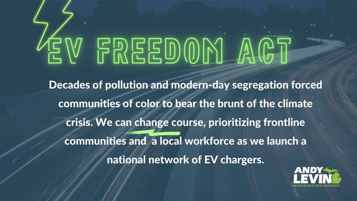 .@POTUS pledged to install 500k electric vehicle charging stations. The EV Freedom Act will do that, and:  🔋 Create good-paying union jobs 🔋 Allow us to recharge a vehicle in the same time it takes to refill a tank 🔋 Dedicate 50% of funding to frontline communities https://t.co/qYfLIUrigm