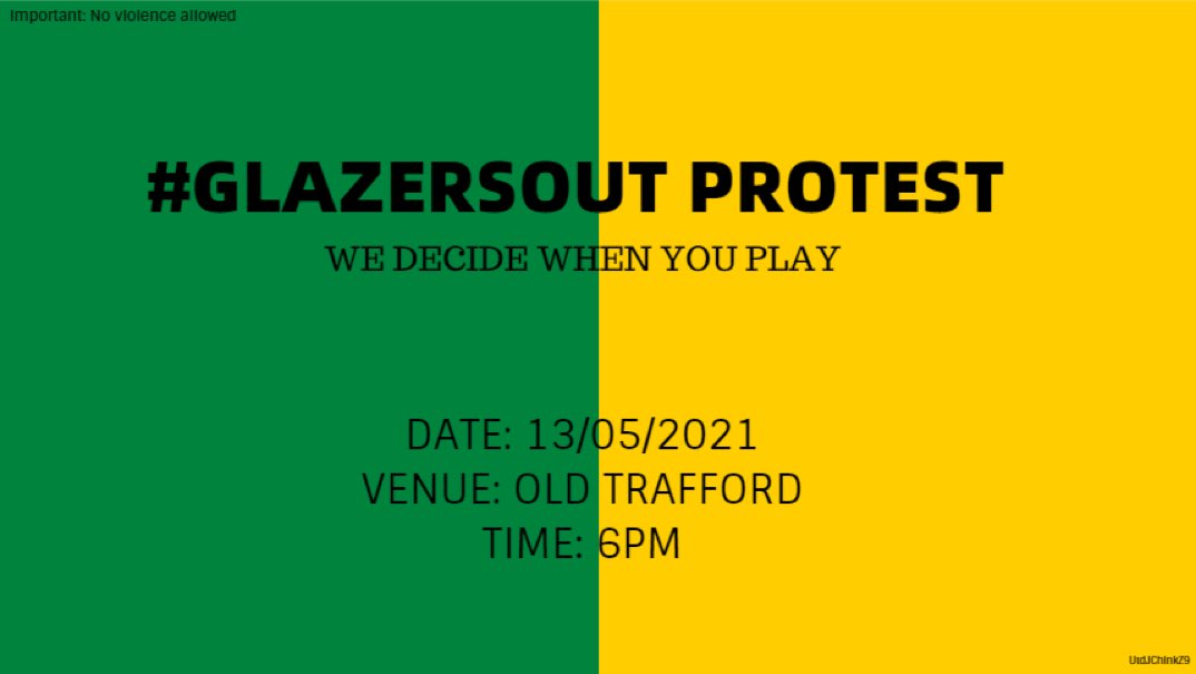 PROTEST #3:  13th May 6PM Old Trafford             WE DECIDE WHEN YOU PLAY #GlazersOut https://t.co/V4dYtiQQG9