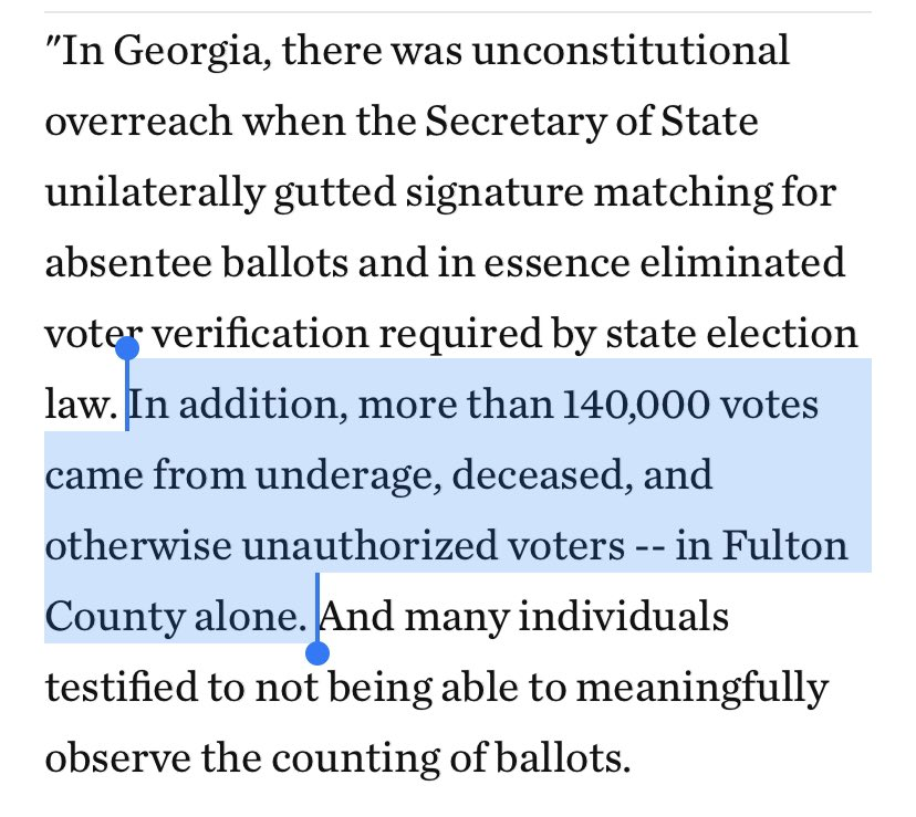 (Literally) incredible:  Elise Stefanik, in defending Trump's fraud claims, said there were 140k illegal votes in Fulton County, Ga., alone.  There were 524k votes TOTAL there. That would mean more than 1 in 4 were fraudulent.  And this wasn't a flub. It was in a statement. https://t.co/hmQNZgzpGz