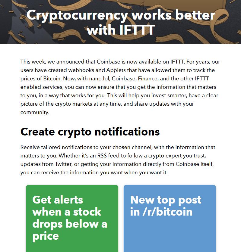 Coinbase e IFTTT: criptovalute e automatismi