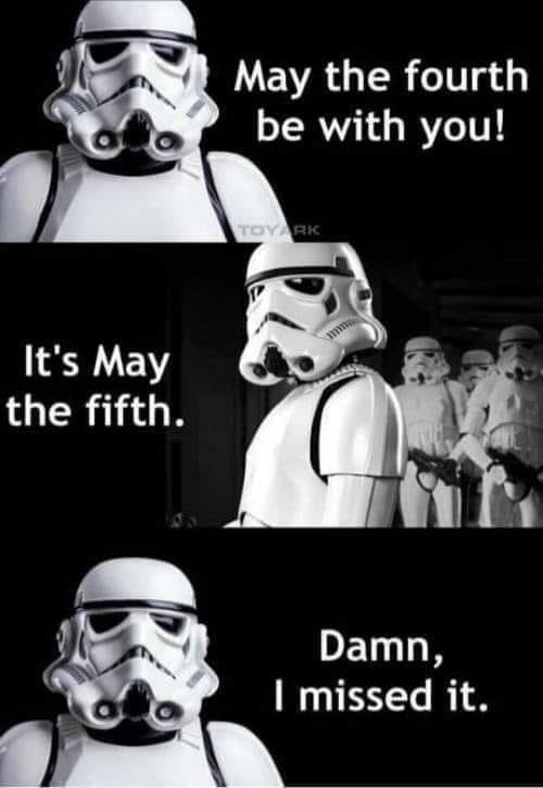 But celebrating May the Sith should be right up stormtroopers' alley.  #maythe4th #maythe4thbewithyou #maythefourthbewithyou #maythe5th #maythefifthbewithyou #maythesith #maythesithbewithyou #starwars #starwarsday https://t.co/gvTqGQtgcU