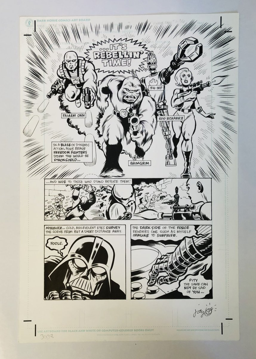 Had my second vaccination shot yesterday 🎉, so today is #StarWarsDay to me.  Was digging in the Svengrila art vault and was reminded that we have this Kirby-esque page by Jay Stephens https://t.co/Pyj1BPvnsb