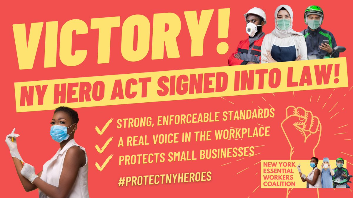 BIG: The #NYHERO Act is now law!  It will enforce workplace safety COVID protocols & ensure a seat at the table for workers to improve conditions in the workplace, including warehouse workers & essential excluded workers.  This is a huge victory in the fight to #ProtectNYHeroes! https://t.co/nDiMU8WsZl