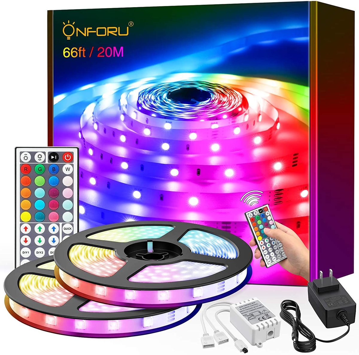 ad: $12.77  (53% off)   66ft LED Coloring Changing Strip Lights  Link0 Link0