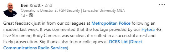 Great to hear that the #bodycams we provided have been put into action and delivered amazing results! For further information regarding body worn cameras please contact us today on 0800 043 2688 or email us at sales@dcrs.co.uk > https://t.co/RlO6ntZacd