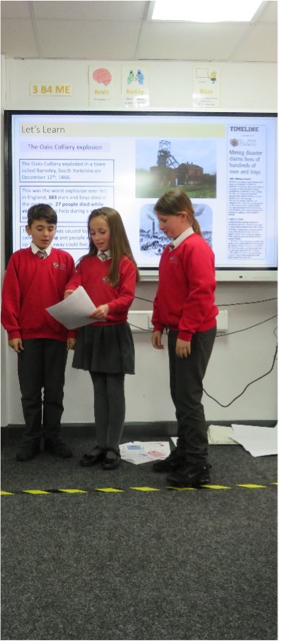 Maple class have been presenting speeches playing the roles of coal mine workers and their families in the aftermath of the Oaks Colliery explosion in 1866. They have been campaigning for better working conditions and pay by making their bosses aware of their plight 📋📢.