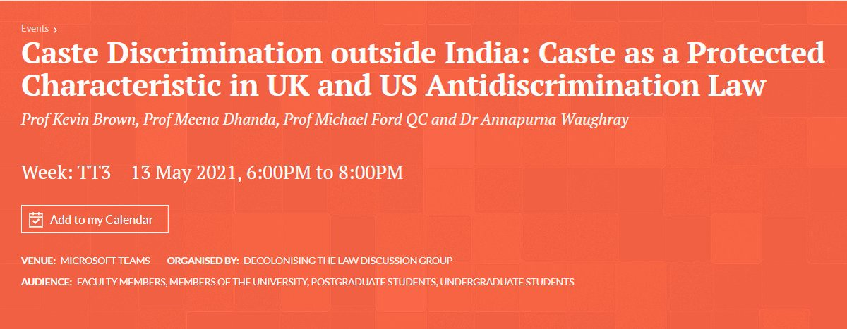 📢 Join us for 'Caste Discrimination outside India'  📆13 May 2021, 18:00 - 20:00 BST  With: With:  Prof Kevin Brown (@IUMaurerLaw), Prof @DhandaMeena (@wlv_uni), Prof @MichaelFordQC (@BristolUniLaw) & Dr Annapurna Waughray (@mmu_law).  Sign up! 👇https://t.co/UxF9oUlEIN https://t.co/NMDP1zkbVv