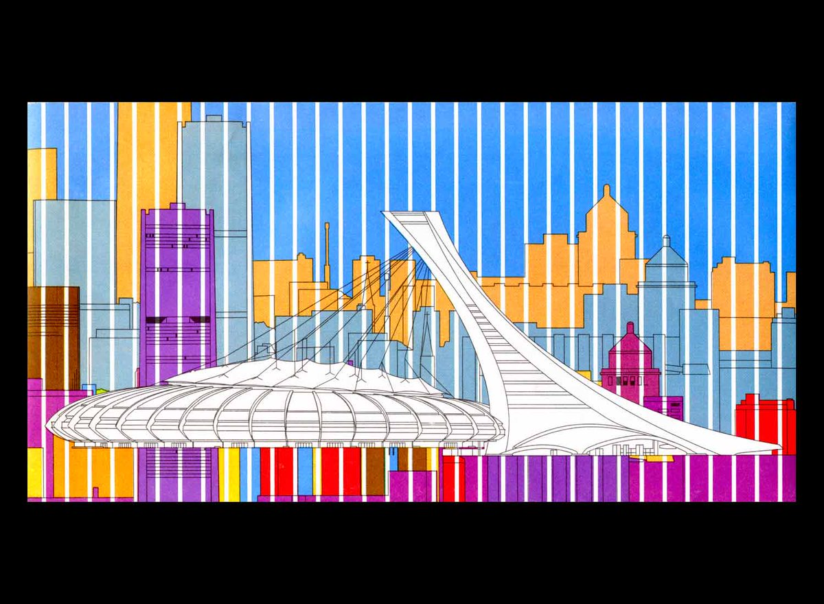 And the inside fold showing #OlympicStadium 🇨🇦  Architect: Roger Taillibert https://t.co/ke9OeXWCoA