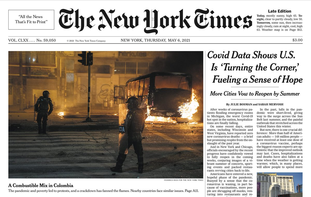 Colombia on the front page of The New York Times today.  https://t.co/Zk5LDlbdZ0 https://t.co/XHMV6ovNn8