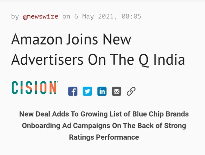 Amazon Joins New Advertisers On The Q India Photo