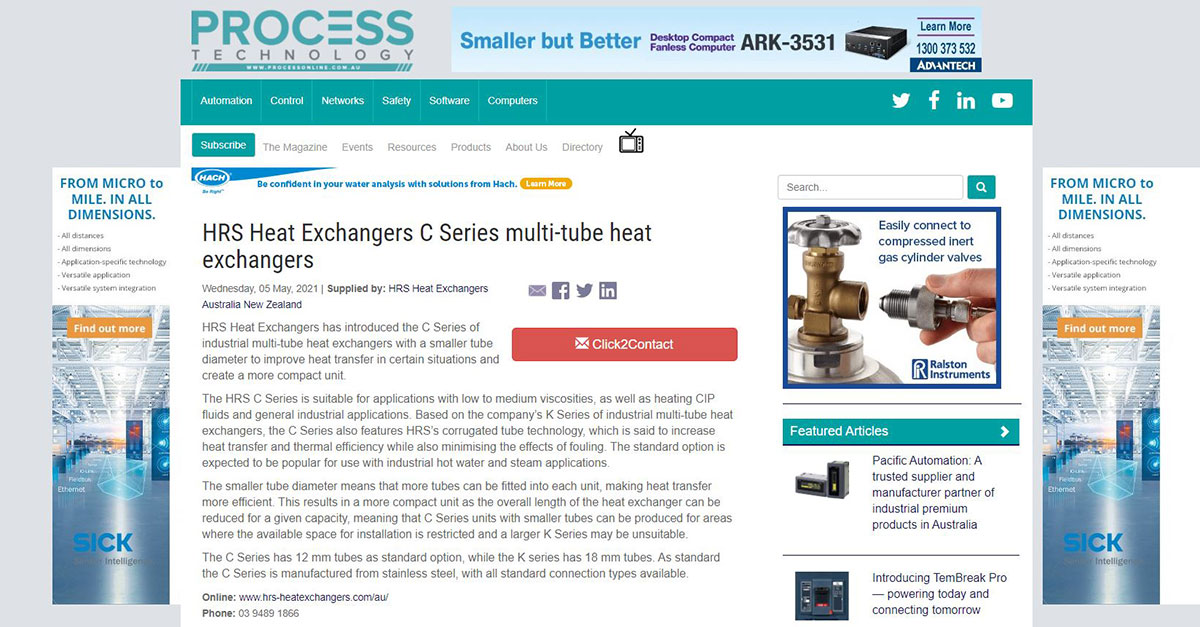 test Twitter Media - HRS is featured in @ProcessOnlineAU on HRS C Series multitube #heatexchangers. This series is an industrial multitube with a smaller tube diameter to improve heat transfer in certain situations and create a more compact unit. Read more: https://t.co/LKh2iWYU0q #newsarticle https://t.co/QFhnTwnKz2