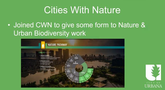 RT @ICLEI_USA City of #Urbana announcing its Regional #Biodiversity Action Plan in partnership with University of Illinois using the #CitiesWithNauture 'Nature Pathway' as a guiding framework for the effort. Presented to the @GlobalTaskforce today.