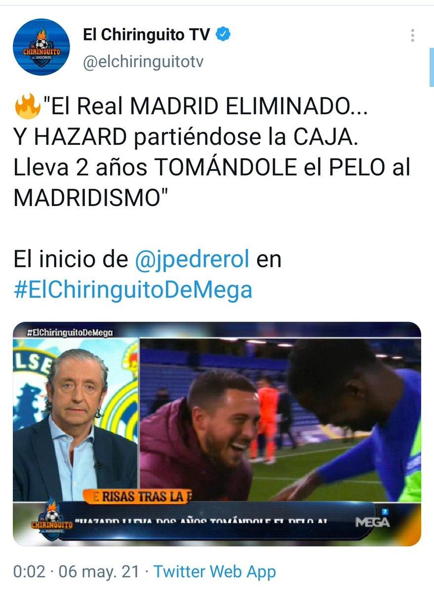 RT @HoyEnDeportes4_: Pedrerol: Soy del Barça Pedrerol con la eliminación del Madrid en Champions: https://t.co/nqikfP810o