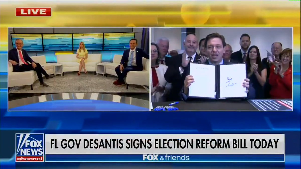 Gov. Ron DeSantis (R-FL) just signed the state's new restrictive voting bill live on Fox News (after barring local press from the bill's signing). https://t.co/hR2ZXooABy