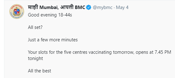"Days after criticism, ""All set?"" ""All the best"" language is no more there in @mybmc Mumbai vaccination tweets. Some had said those sort of tweets were like promoting ""stressful lottery"". https://t.co/02PlHnsO2r https://t.co/39TeVZ4sns"